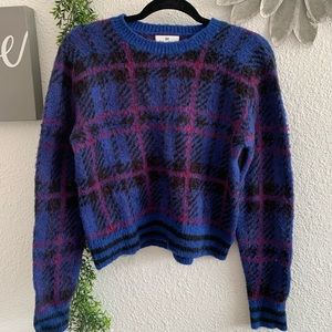 Bp. Cropped fuzzy plaid sweater